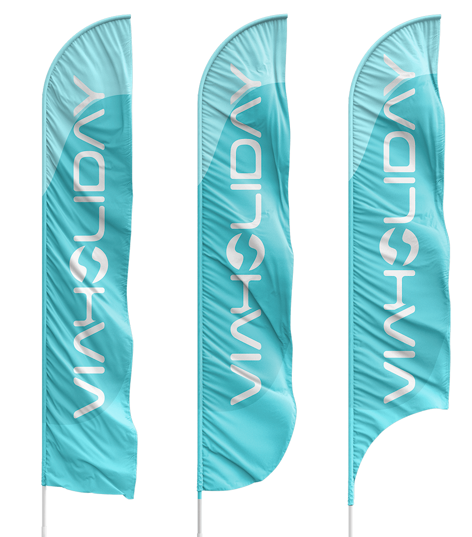 ViaHoliday beach flag med logo