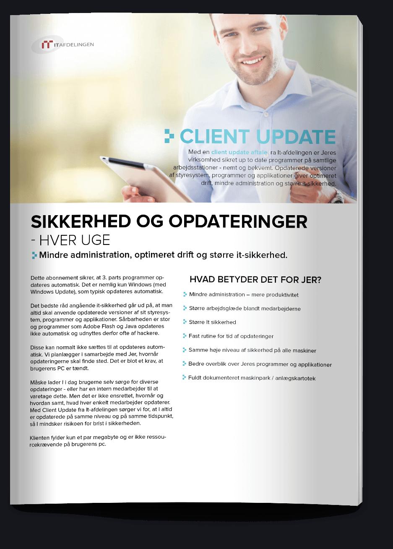 Design af IT Afdelingens produktblad client update