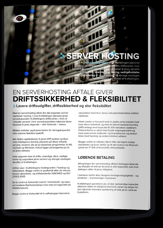 Grafisk design af IT Afdelingen produktblad server hosting