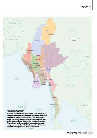 Kort over Myanmar fra magasin