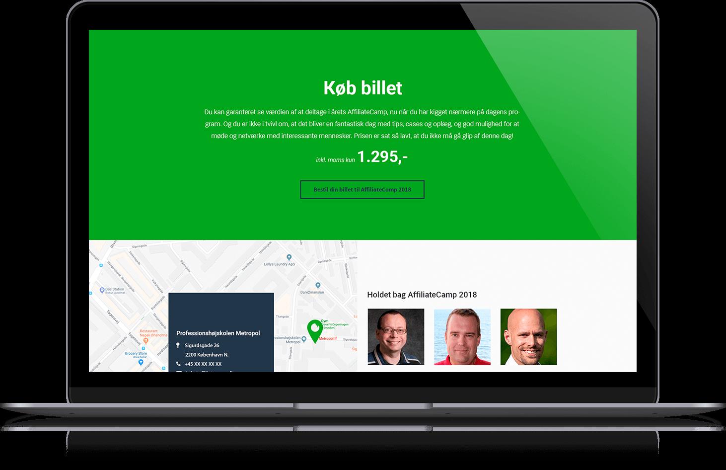 Affiliate Camp web design desktop