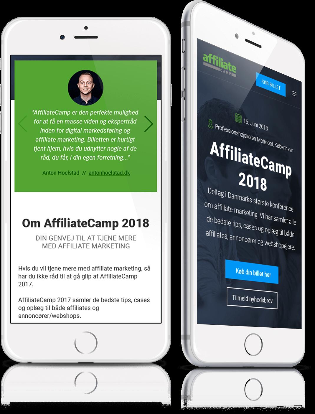 Affiliate Camp web design mobile