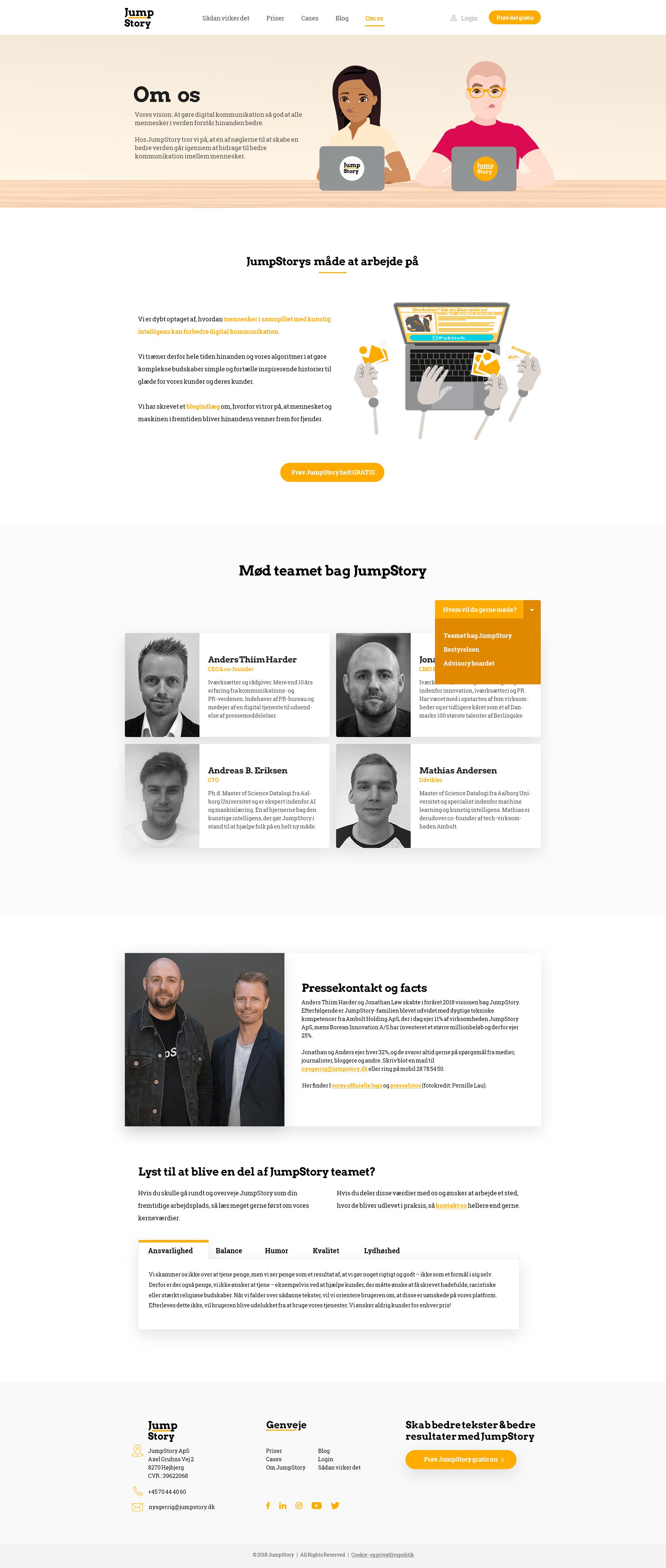 """Design af JumpStorys """"om os"""" side"""