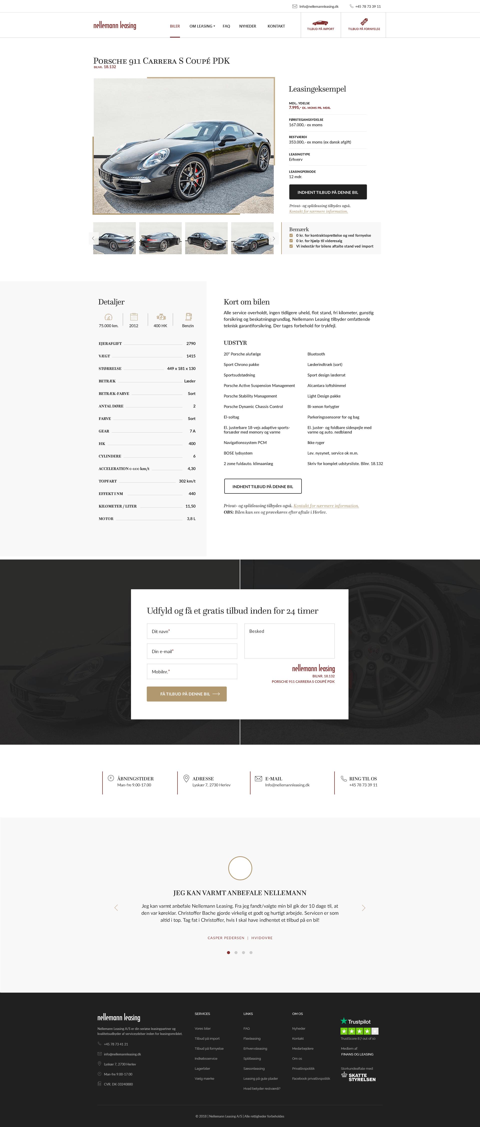Webdesign visning af biler - Nellemann Leasing