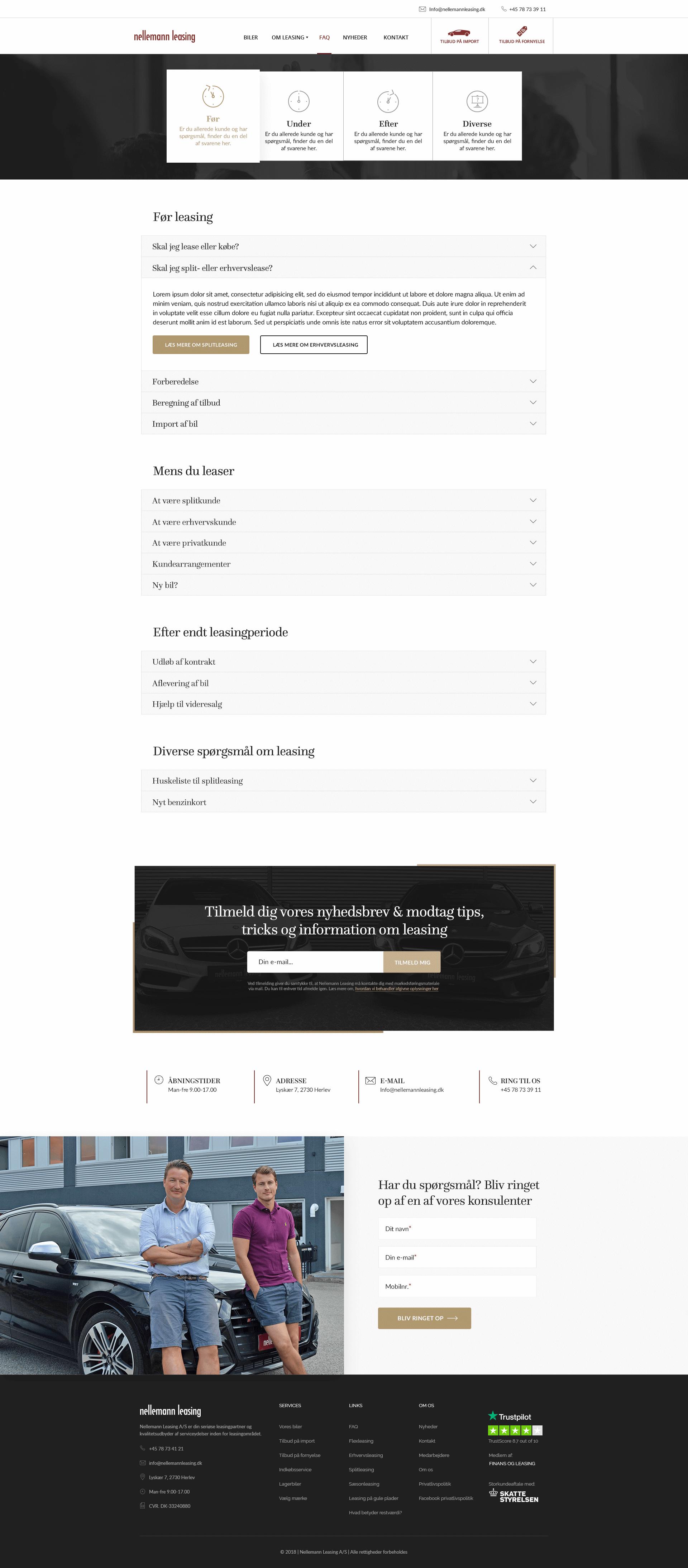 Design af FAQ på Nellemann Leasing