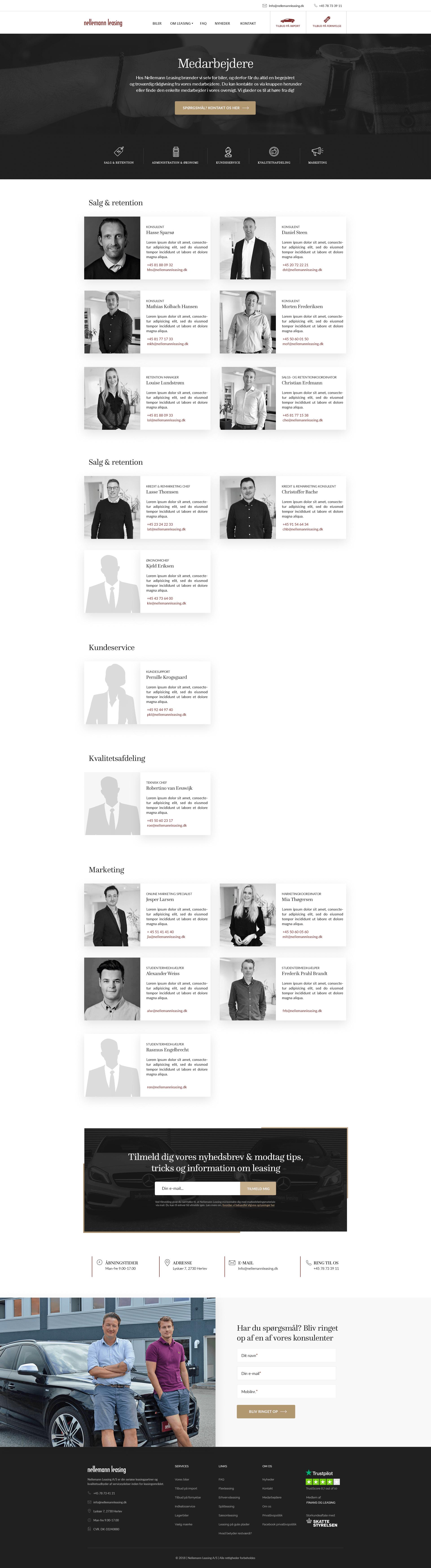 Webdesign medarbejderside - Nellemann Leasing
