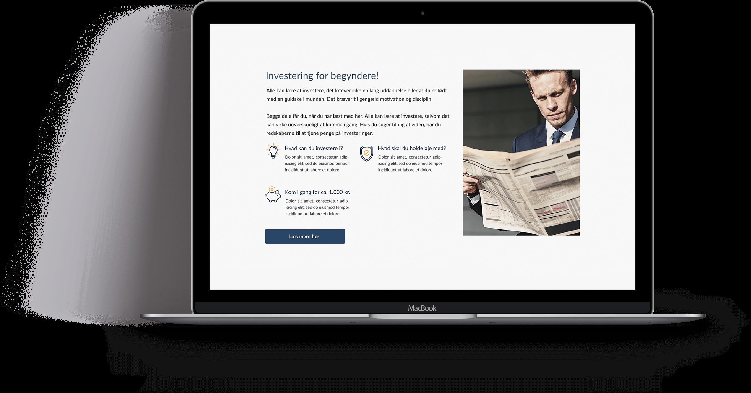 Webdesign - Forside til Min Investering