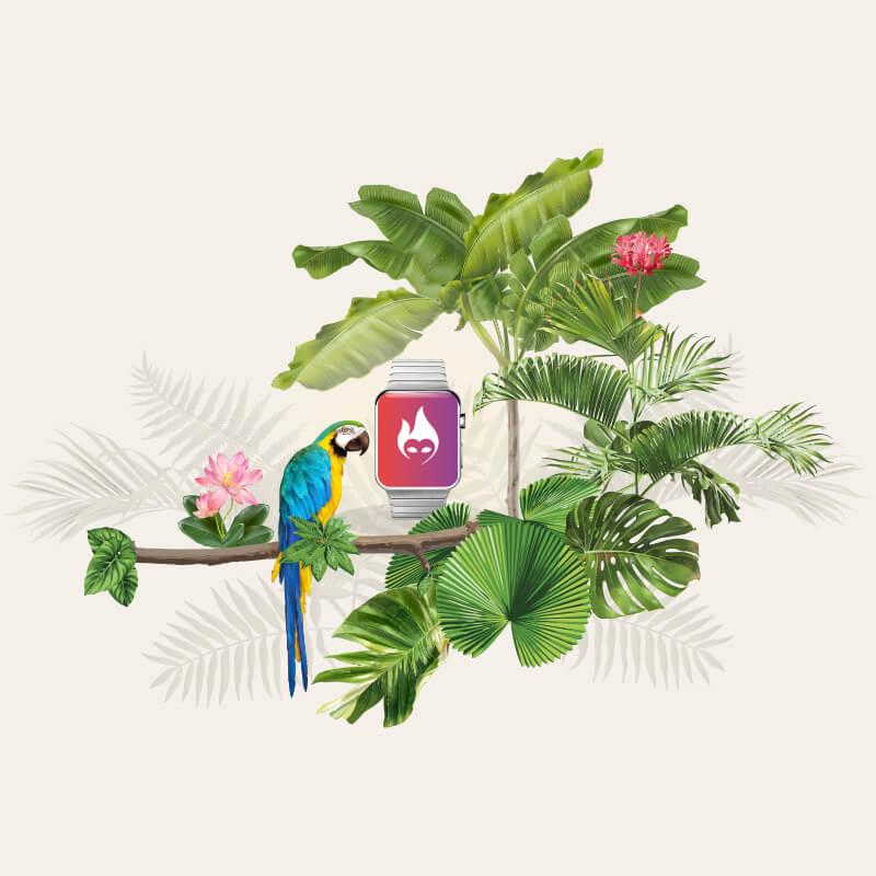 Illustration med tech og junglemotiv - Bransheroes