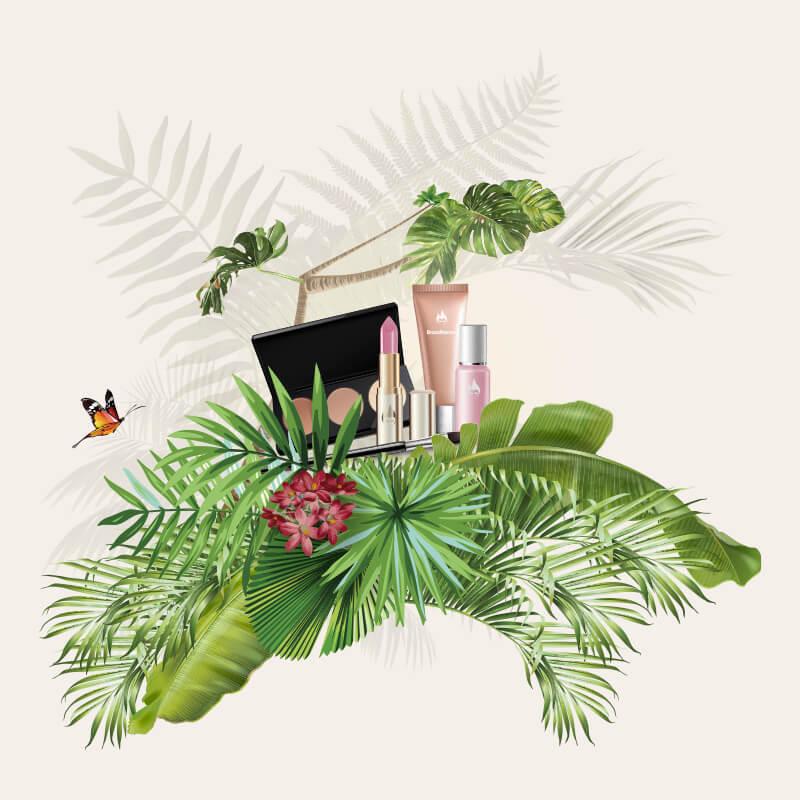 Illustration med make-up og junglemotiv - Bransheroes