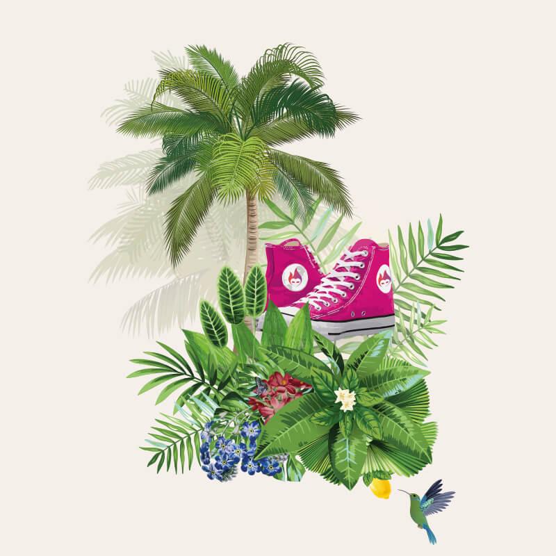 Illustration med sko og junglemotiv - Bransheroes