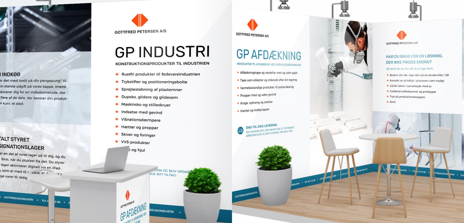 Messestand i genanvendeligt materiale til Gottfred Petersen