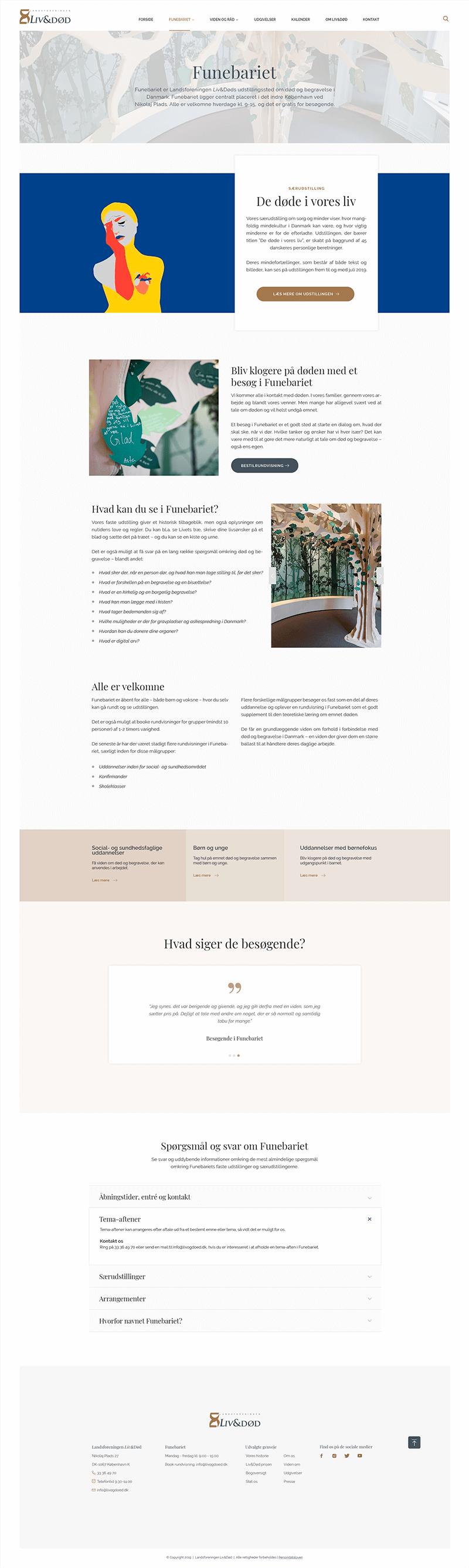 Webdesign til Landsforeningen Liv&Døds udstilling i Funebariet