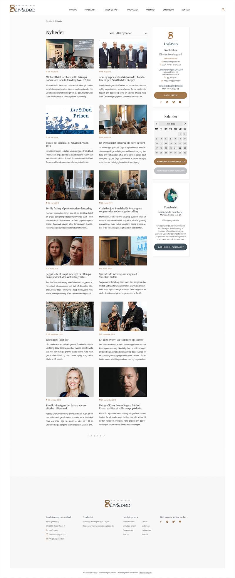 Landsforeningen Liv&Død - webdesign blogoversigt