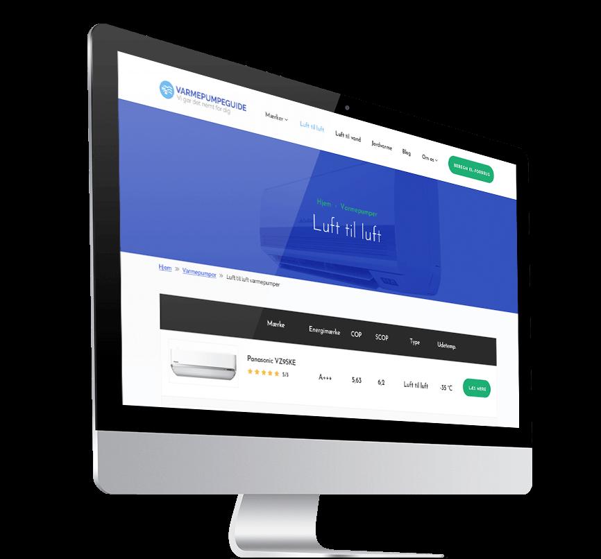 Varmepumpeguide redesign af website