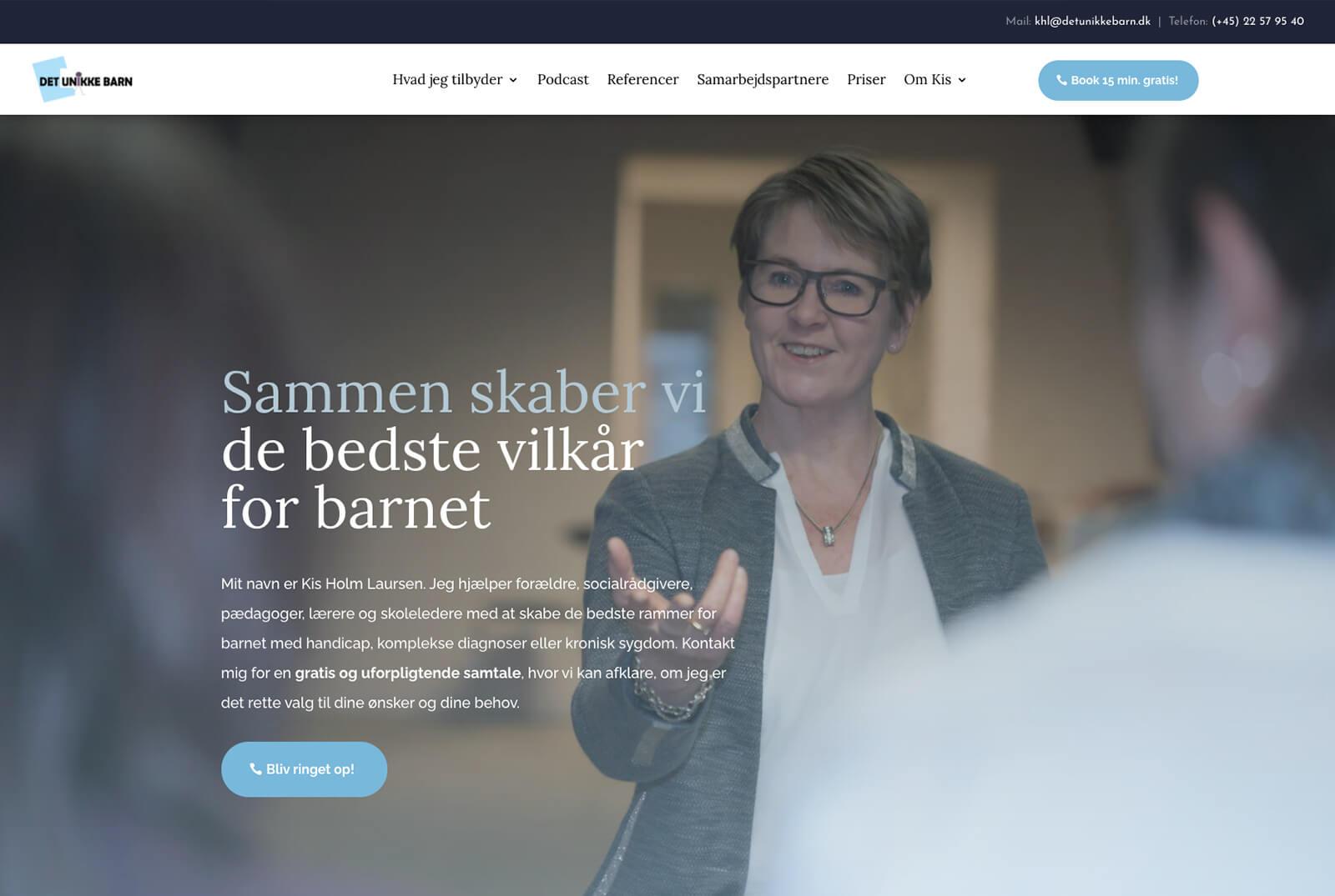 Det Unikke Barn - hjemmeside efter redesign